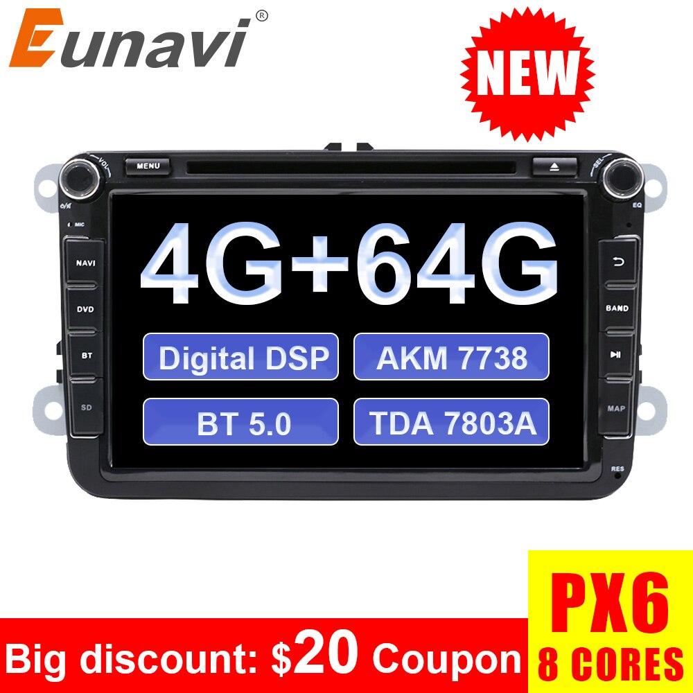 Eunavi 2 din Android 9,0 PX6 автомобильный dvd радио gps для VW Volkswagen Polo Jetta passat b6 b7 cc fabia skoda Touran golf 6 Tiguan DSP