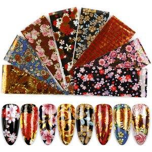 8 шт./лот Фольга для ногтей для маникюра УФ-Гель-лак наклейка 4*20 см цветные цветы дизайн клейкая Наклейка украшения ногтей Обертывания