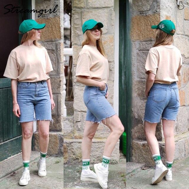 High Waist Short Jeans Bermuda Shorts For Women 2021 Summer Denim Capris Black Loose Casual Jeans Short Women's Denim Shorts 4