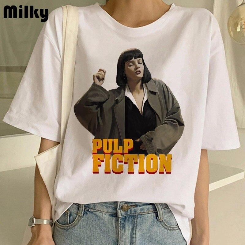 Pulp ficção filme impressão t camisa feminina ulzzang verão camiseta moda mais tamanho tshirt t harajuku engraçado topos feminino