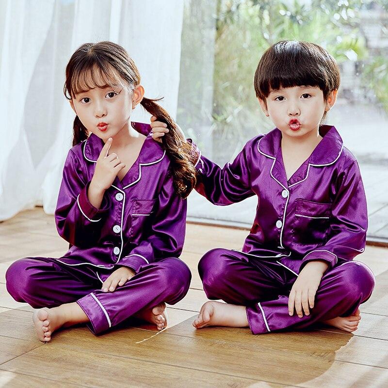 Girls Pajamas 2019 Autumn Winter Long Sleeve Children's Sleepwear Set Silk Pajamas Suit Boys Pyjamas Sets for Kids Tracksuit Set 6