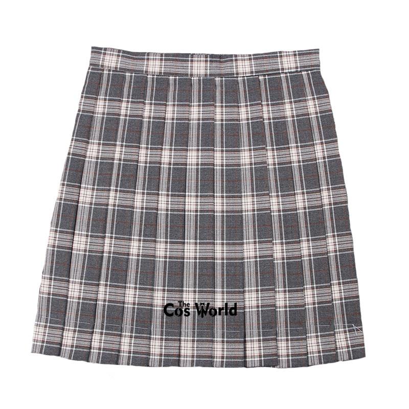 [Dark Gray Orange] Girl's Summer High Waist Pleated Skirts Plaid Skirts Women Dress For JK School Uniform Students Cloths