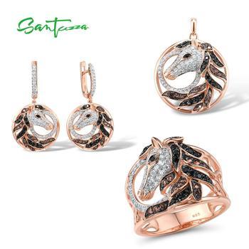 SANTUZZA Silver Jewelry Set For Women Pure 925 Sterling Creative Black Brown Horse Ring Earrings Pendant Fine