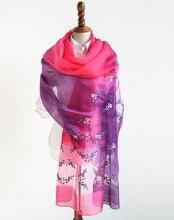 Prawdziwy jedwab mieszania powiększyć poszerzyć haftowane jedwabne szalik kobiety szalik 82x198cm