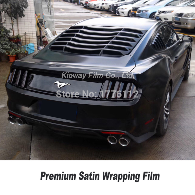 Upgraded premium quality Satin Black Vinyl wrap satin black Car Wrap Air Bubble Free For Car Wrapping Foil Self adhesive|bubble free|bubble air|bubble wrap - title=