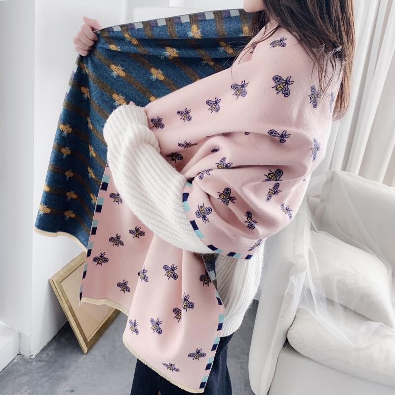 2019 Winter Women Cashmere Scarf Fashion Thich Warm Neck Bandana Lady Pashmina Shawls And Wrap Lady Cashmere Scarves Soft Stoles