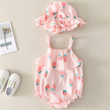 Infant Girl Jumpsuit Suspenders with Hat 1 set Strawberry Pattern Summer Baby Girl Bodysuits Romper Sleeveless Jumpsuit