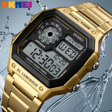 SKMEI luxury Stainless Steel Band Business Men Watches Count Down Waterproof Watch  Fashion Creative Digital Wristwatches Clock