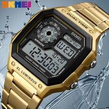Skmei Luxe Roestvrij Stalen Band Zakelijke Mannen Horloges Count Down Waterdicht Horloge Mode Creatieve Digitale Horloges Klok