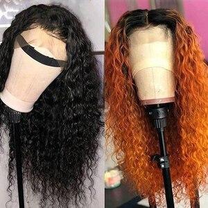 Image 3 - Su dalgası peruk 4x4 dantel kapatma peruk bebek saç ön koparıp brezilyalı 150 güneş ışığı 13x4 remy dantel ön İnsan saç peruk