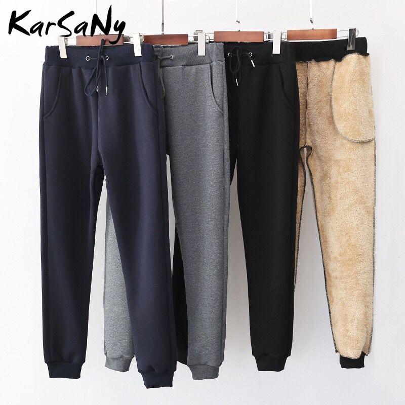 Thick Velvet Warm High Waisted Winter Pants Women Womens Sweatpants Woman Winter Trousers Warm Straight Fleece Pants For Women