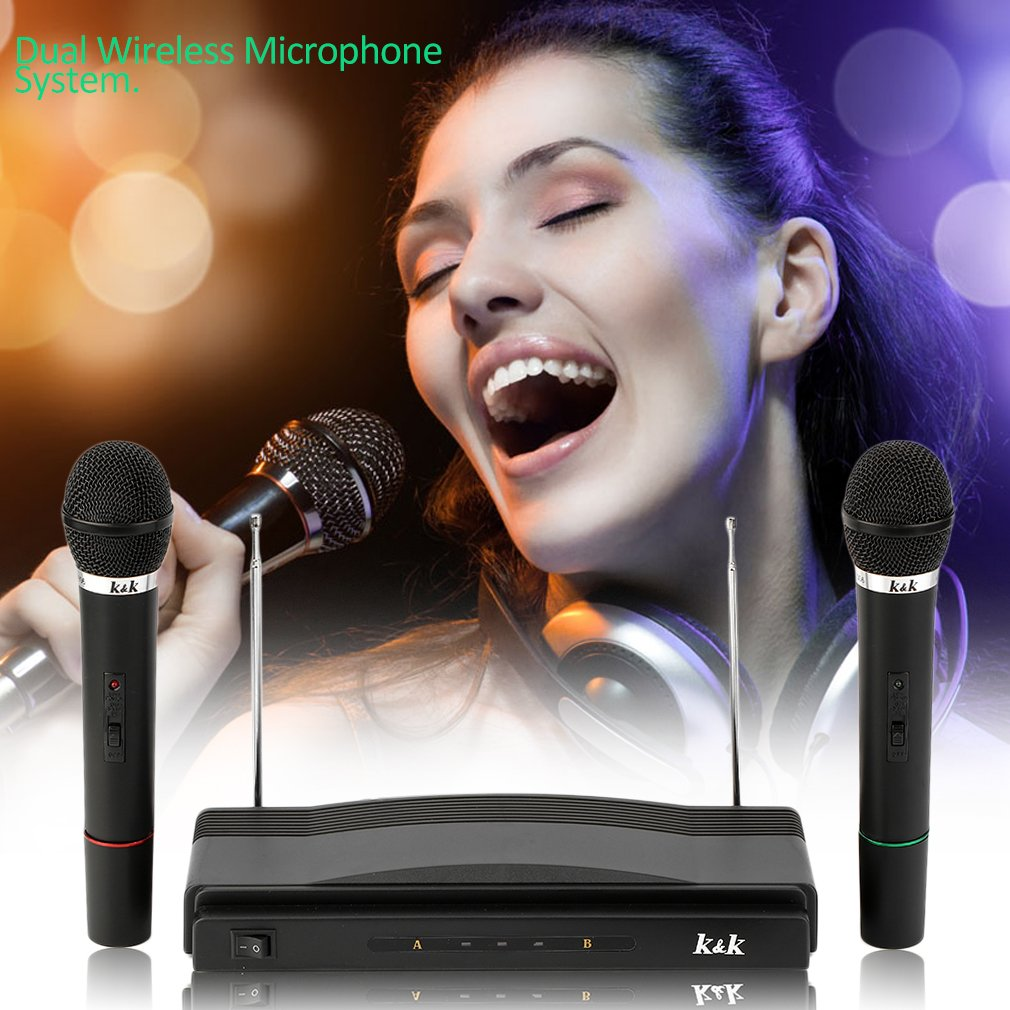 75KHz Microphone System Professional Wireless Dual Handheld 2 Microphones Receiver Pop/ Shock Noise Protection Compression