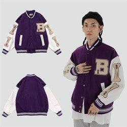 2020 Mens Hip Hop Jaqueta De Beisebol Casacos Grande Letra B Osso Bordado Patchwork Streetwear Estilo Japão Coreano Faculdade Jaqueta de Rock