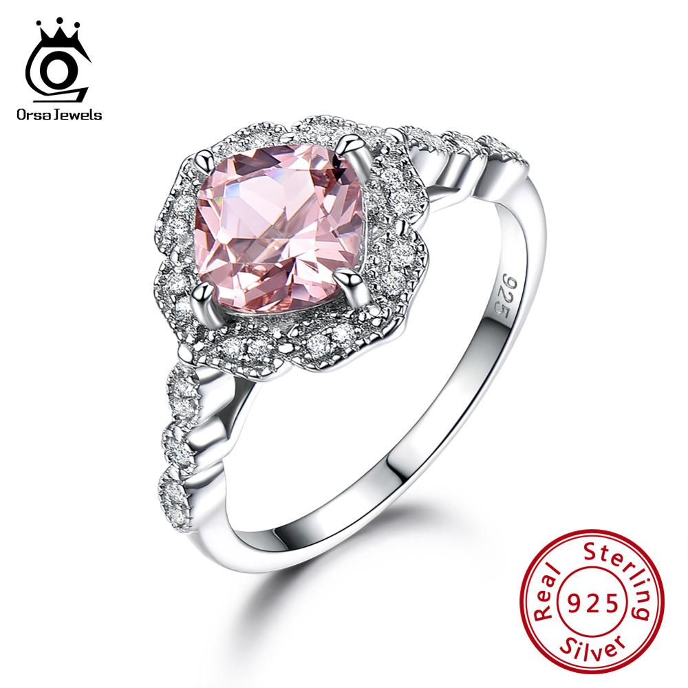 ORSA JEWELS Newest Authentic 925 Sterling Silver Engagement Or Wedding Rings Pink Morganite Anniversary Ring Fine Jewelry VSR14