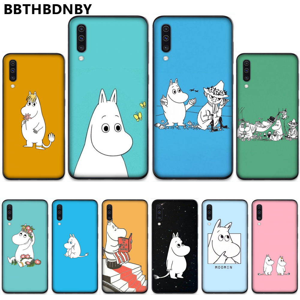 Cartoon Cute moomin hippo Cover Black Soft Shell Phone Case For Samsung S6 S7 edge S8 S9 S10 e plus A10 A50 A70 note8 J7 2017