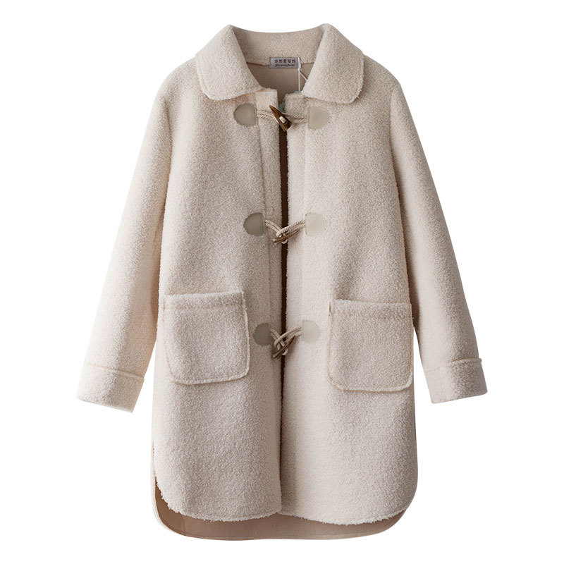 loose lamb horn buckle wool coat 5