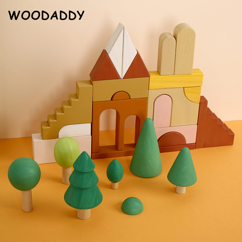 Dropshipping Forest Castle Building Blocks Wooden Toys For Kids Rainbow Simulation Tree Situational Play Educational Toys Gift