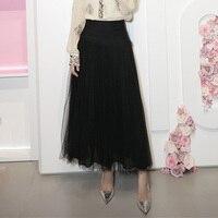 Fashion Dot Black Long Skirts for Women 2019 Autumn Women High Waist Skirt Ball Gown Mesh Tulle Maxi Skirt Streetwear