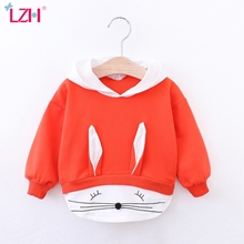LZH Childrens Clothing 2020 Autumn Baby Girl Long Sleeve Hooded Sweater Newborn Cute