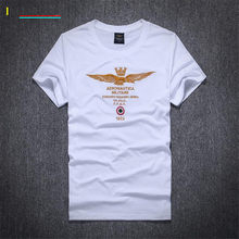 The new fashion fitness embroidery aviation army mens clothing is the famous brand of air force one round collar T-shirt