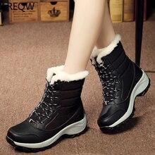 Зимние непромокаемые сапоги; женские ботинки до середины икры; обувь на пуху; зимние ботинки; женская обувь на меху; обувь с плюшевой стелькой; Цвет Черный; botas mujer