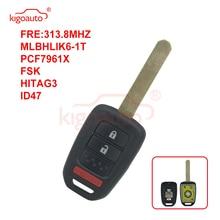Kigoauto 2500A-HLIK61T MLBHLIK6-1T for Honda Accord Civic CRV Remote key 3 button HON66 blade 313.8mhz 2013 2014 2015 free shipping 1pcs new offer kd900 remote nb10 3 1 button remote key with nb xtt new honda model for 2013 2015 honda