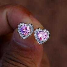 Dainty femminile arcobaleno cristallo pietra orecchino fascino colore argento piccolo orecchino orecchini cuore carino zircone orecchini da sposa per le donne