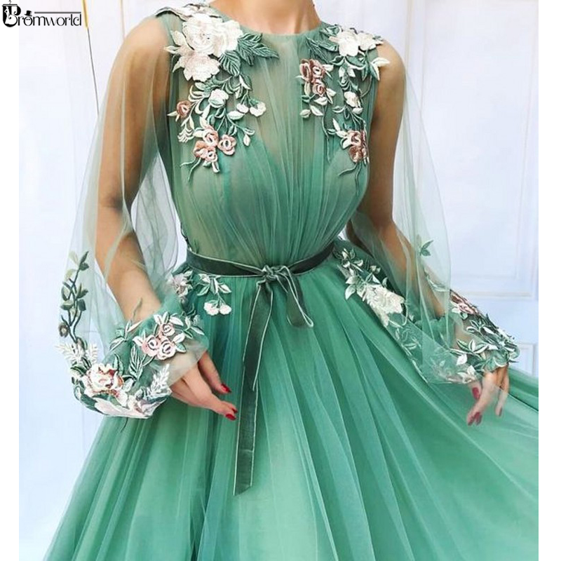 Illusion Long Sleeve Tulle A-Line Mint Green Prom Dresses 2019 Applique Flowers Vestidos De Festa Longo Formal Evening Dress