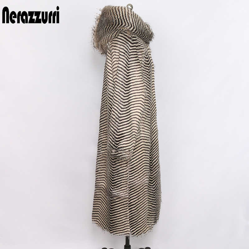 Nerazzurri ผู้หญิงฤดูหนาวเสื้อขนสัตว์ faux ขนขนาดใหญ่ hood และ raglan แขนยาว warm outwear shaggy plus ขนาด fluffy เสื้อ 6xl 7xl