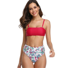 High Waist Bikini 2019 Solid Red Tops Swimwear Women Blue Floral Print Pants Bottoms Two Pieces Separate Female Swimsuit