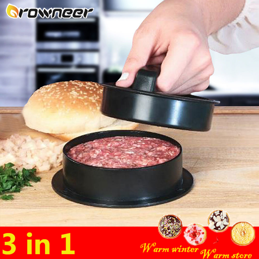 3 In 1 Detachable Hamburger Meat Press Non-Stick Round Plastic Hand Burger Patty Maker Anti Fall Beef Grill Pie Tool Oil Paper