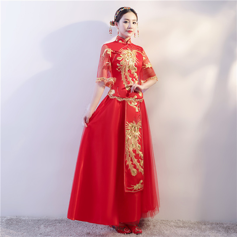Factory Direct Sale Bridal Gown On The Red Long Toast Toast Chinese Embroidery Wedding Dress Suit