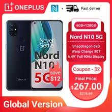 OnePlus Nord N10 5G Smartphone küresel sürüm 6GB 128GB Snapdragon 690 90Hz ekran 64MP dört kamera çözgü 30T NFC cep telefonları
