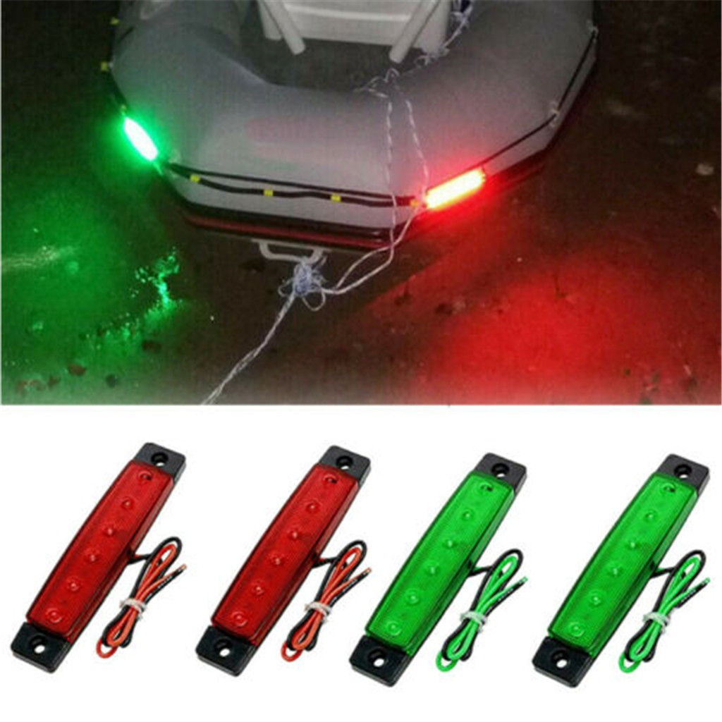 4 × LED Marine Bow Boat Yacht Navigation Lights Green Red Stern Light DC-12V