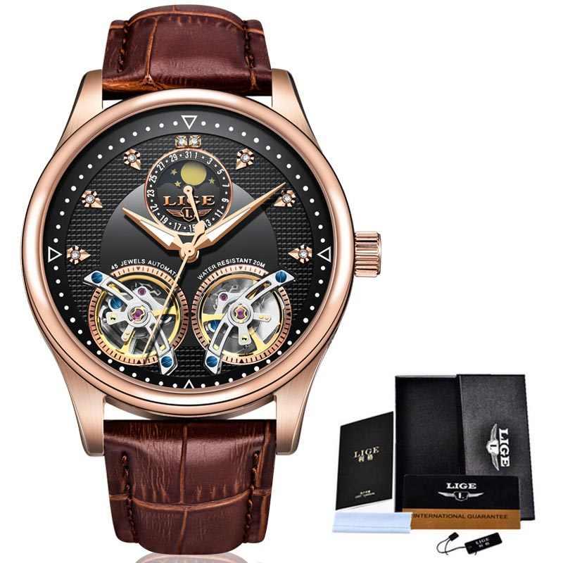 2020 Nieuwe Luik Mannen Horloges Luxe Lederen Dubbele Tourbillon Mechanische Horloge Mannen Mode Zakelijke Automatische Waterdichte Watch10013