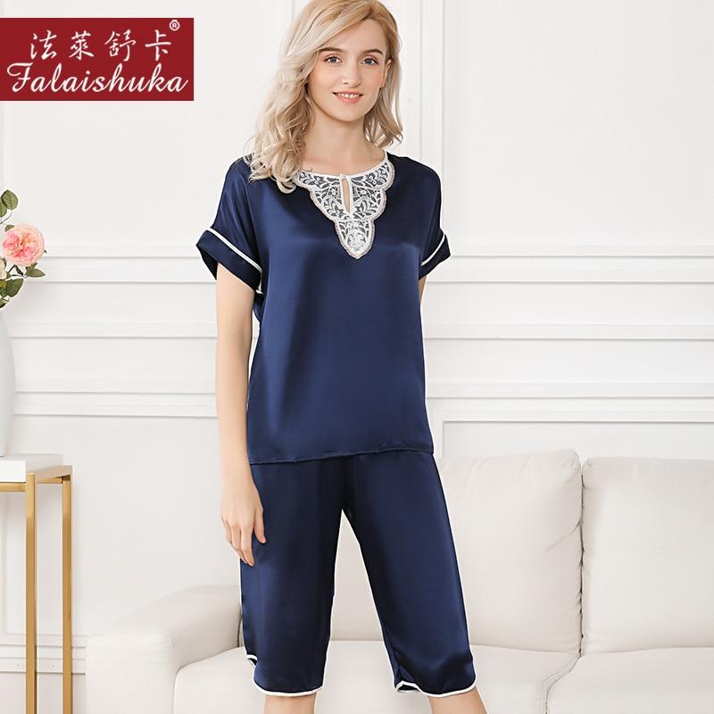 Plus Size Elegant 100% Natural Silk Pajamas Sets Women Sleepwear Short Sleeves+middle Pants Noble Pure Silk Womens Pyjamas