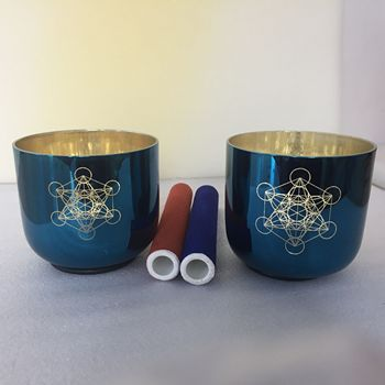 2 Pcs of indigo shinny color crystal singing bowl 528HZ perfect pitch for sound healing.