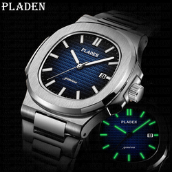 PLADEN Watch Men Watches Vogue Fashion Stainless Steel Sports Waterproof Wristwatch Top AAA+ PP Gift For Husband Male Clock