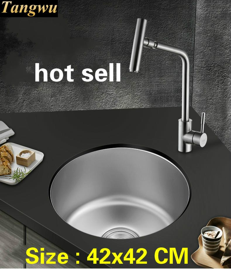 Free Shipping Household Balcony Vogue Kitchen Circular Tank Sink Food-grade 304 Stainless Steel Hot Sell 42x42 CM