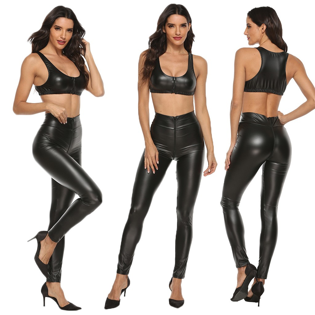 Plus Size Sexy Lingerie Set Women Leather Zipper Clubwear Sex Bra Tight Trousers Set Erotic Costumes Porno Lenceria Babydoll 4XL