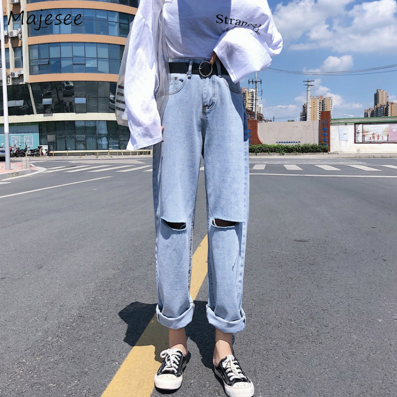 High Waist Jeans Women Hole Casual Loose Straight Womens Korean Fashion BF Trousers Street Style Females All Match Streetwear