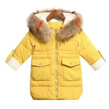 купить 2019 Girls Winter Down Jacket Coat Hooded Thicken Warm Jacket For Baby Girls Kid Infant Girls Parka Snowsuit дешево