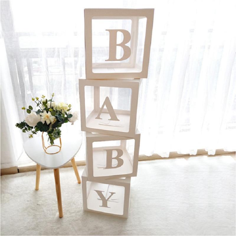 Staraise Transparent Letter A-Z Box Custom Baby Name Balloon Box Girl Boy Baby Shower Decorations Baby 1st Birthday Party Decor