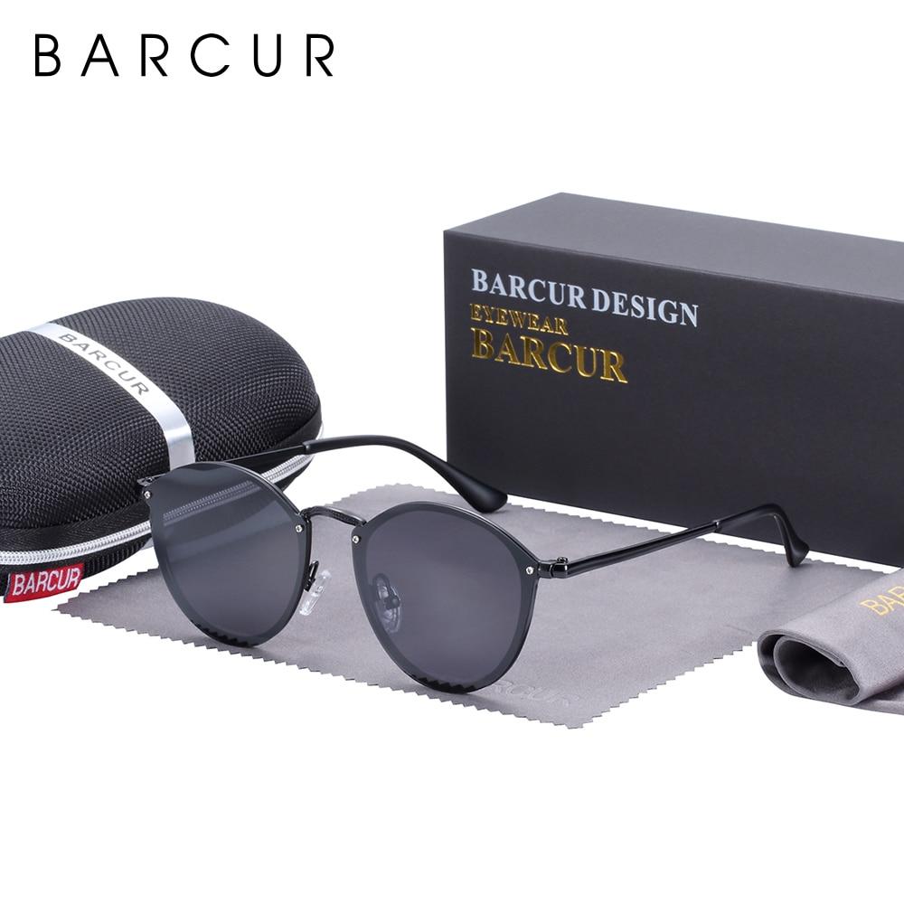 BARCUR Classic Round Sunglasses Women Polarized Sun Glasses For Men Lunette De Soleil Homme