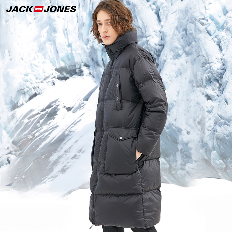 JackJones Winter Mens Warm Long Vertical Collar Medium Long Coat Down Jacket  218412553