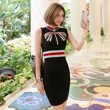 Fashion Designer Women Contrast Stand Collar Bow Embroidery