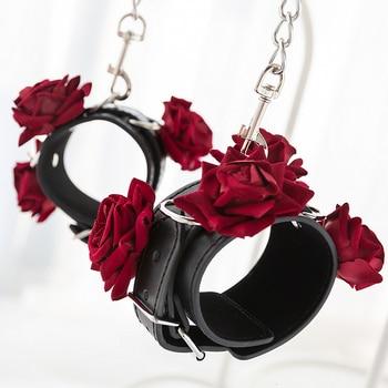Adult Games Gothic Rose Handcuffs BDSM Bondge Male Handcuff Wrist Ankle Cuff Gay Fetish Slave Restraints Sex Toys For Woman Men 1