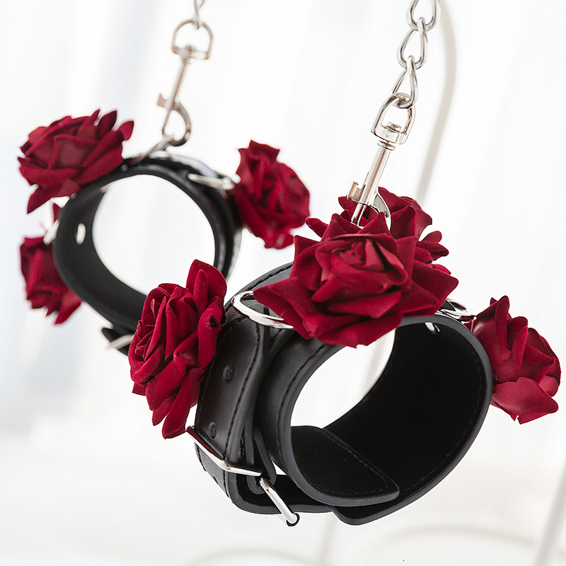 Adult Games Gothic Rose Handcuffs BDSM Bondge Male Handcuff Wrist Ankle Cuff Gay Fetish Slave Restraints Sex Toys For Woman Men