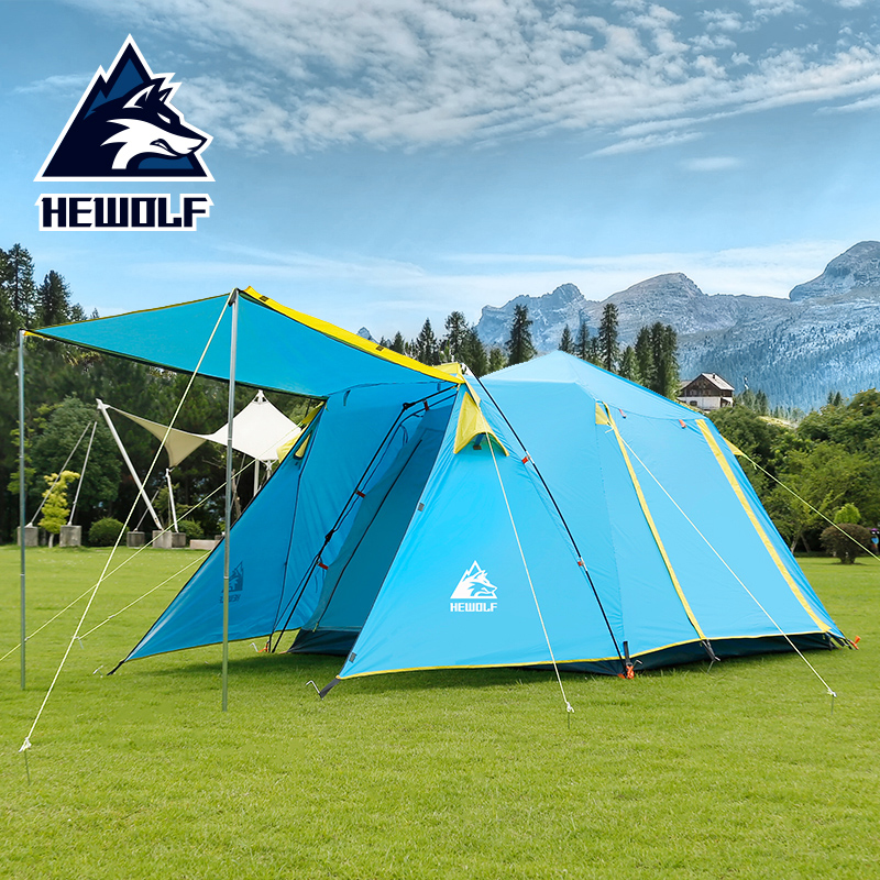 Hewolf Automatic 4-5 Person one room one hall Double Layer Camp Tent Portable Outdoor Hiking Beach Camping Tents image