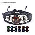 Liwore световой двенадцать созвездий пару кожаный плетеный браслет для Для мужчин Многослойный кожаный мужской браслет ювелирные изделия